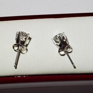 14kt White Gold CZ Stud Earrings